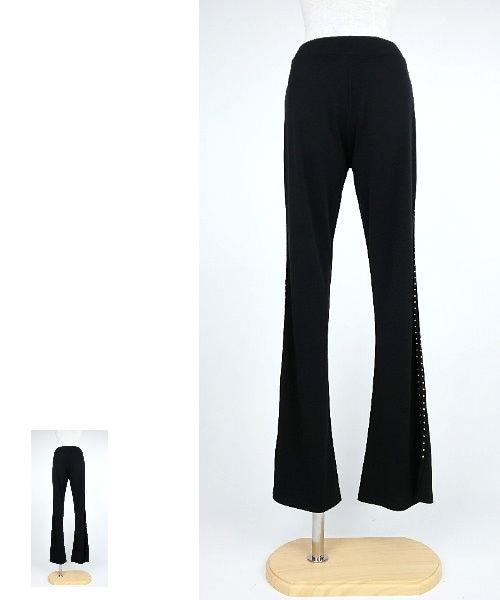 ◆韓国製◆サイドストーンストレッチパンツ【社交ダンス 衣装 パンツ レッスンウエア】