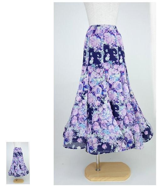 フラワープリントのソフトメッシュロングスカート【社交ダンス 衣装 スカート】