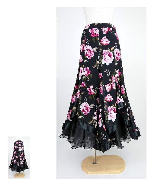 フラワープリントのアシメヘムロングスカート【社交ダンス 衣装 スカート】