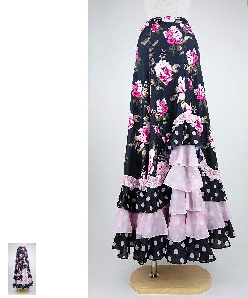 フラメンコスカート フラワープリント デザインファルダ 【フラメンコ 衣装 スカート 】