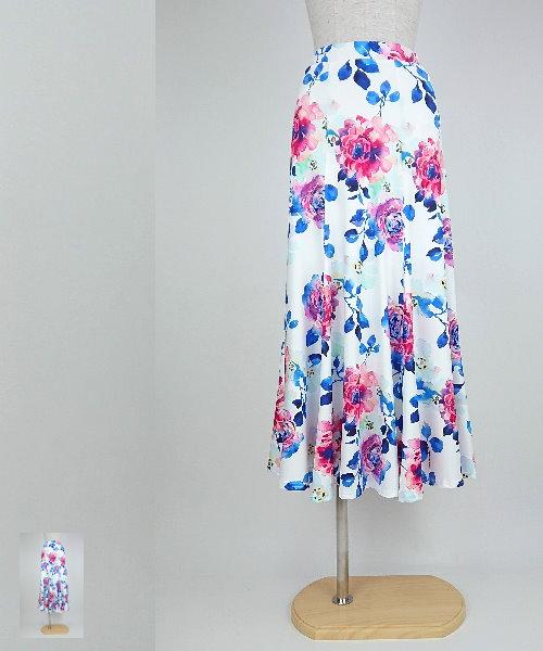 フラワープリントロングフレアスカート【社交ダンス 衣装 スカート】