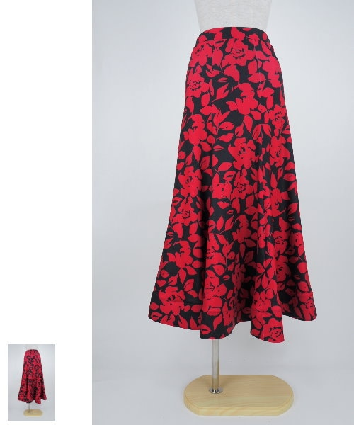 フラワープリントのロングフレアスカート ブラック×レッド 【社交ダンス 衣装 スカート】