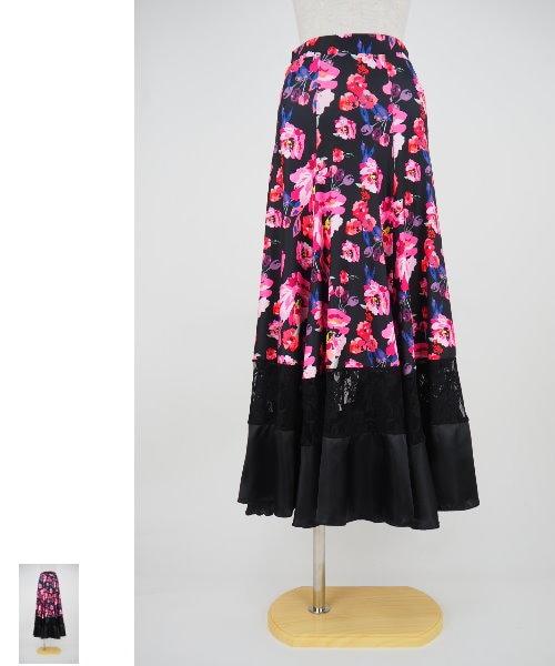 フラワープリントのロングフレアスカート【社交 衣装 スカート】