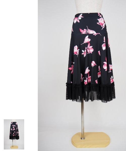 裾フリルプリントミディアムスカート【社交ダンス 衣装 スカート 】