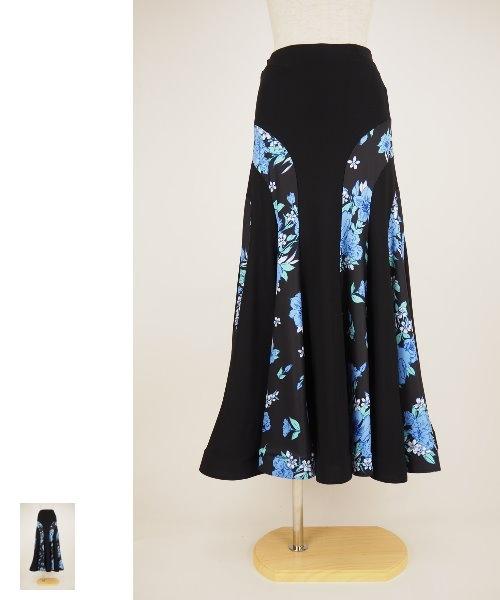 ブルーフラワープリントのロングフレアスカート【社交ダンス 衣装 スカート】