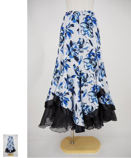 フラワープリントソフトメッシュフレアスカート ブルー 【社交ダンス 衣装 スカート】