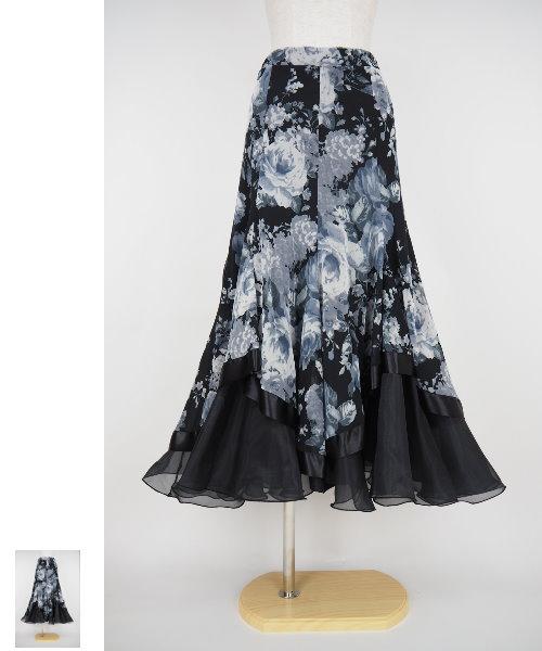 フラワープリントソフトメッシュフレアスカート BK/GY 【社交ダンス 衣装 スカート】