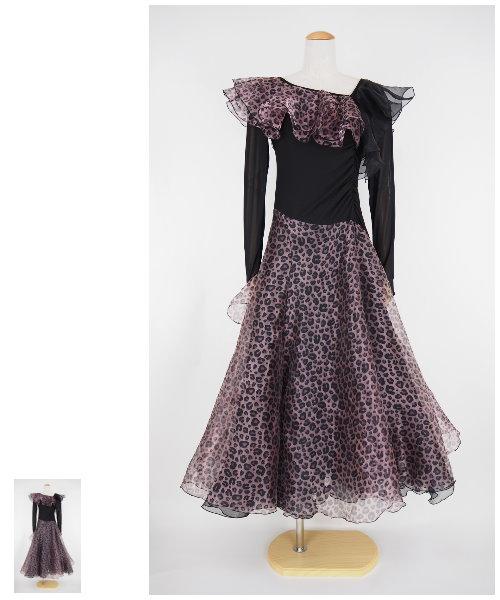 レオパードプリントのオーガンジードレス 【社交ダンス 衣装 ワンピース】