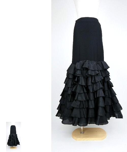 シャンタンティアードフリルデザインファルダ スカート 【フラメンコ 衣装 スカート 】