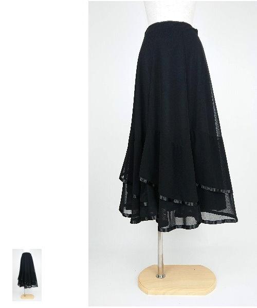 【韓国製】 ソフトメッシュサテンテープロングスカート【社交ダンス 衣装 ロングスカート 黒】