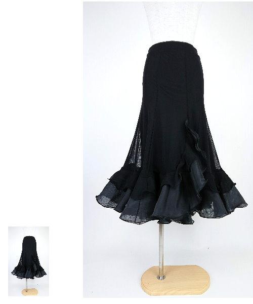 ◆韓国製◆ オーガンジーフリルのイレヘムロングスカート【社交ダンス 衣装 スカート】