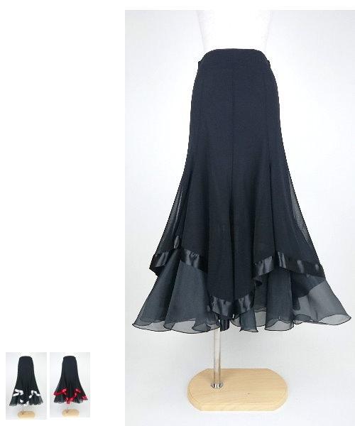 【韓国製】 メッシュ切替サテンテープロングスカート【社交ダンス 衣装 スカート ロング】