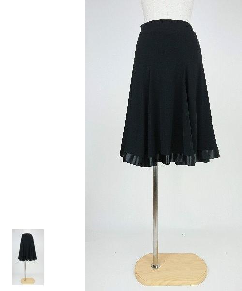 【韓国製】 裾サテンテープミディアムスカート【社交ダンス 衣装 スカート ミディアム ショート】