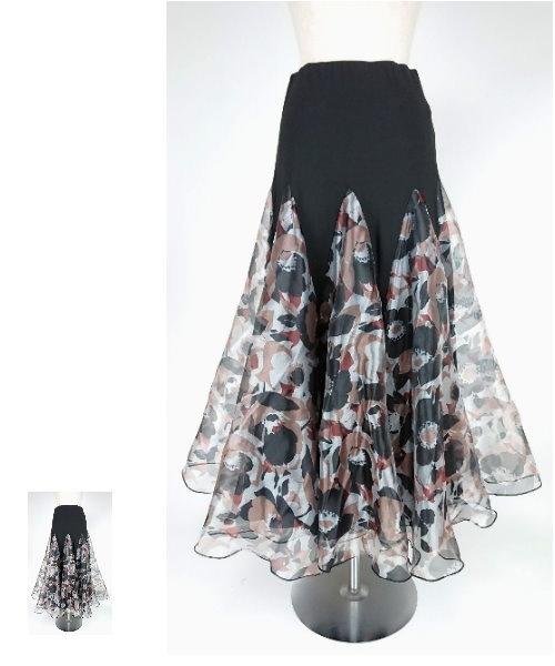 ◆SALE◆ フラワープリントオーガンジーロングスカート【社交ダンス スカート】