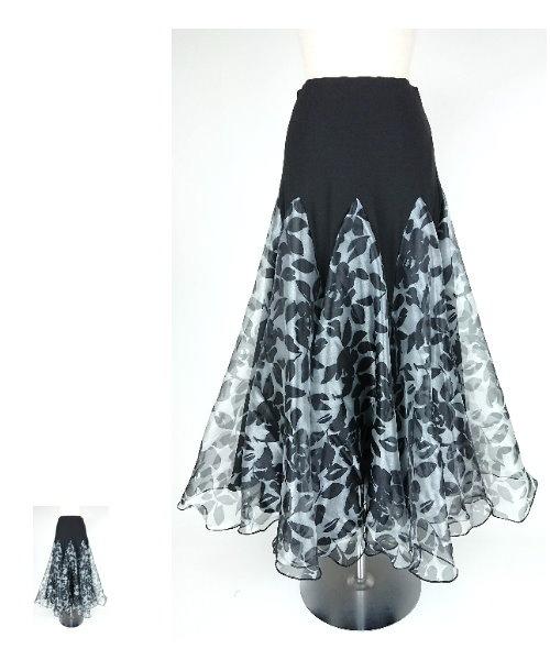 モノトーンフラワープリントオーガンジースカート【社交ダンス スカート】