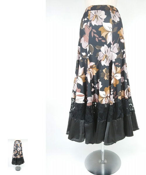 フラワープリントロングフレアスカート【社交 衣装 スカート】