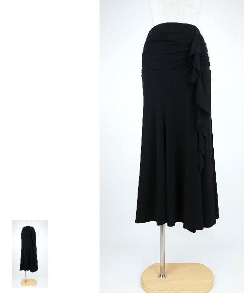 ◆韓国製◆ ストレッチ素材の縦フリルロングスカート【社交ダンス 衣装 スカート】