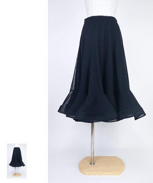 【韓国製】 ソフトメッシュフレアスカート【社交ダンス 衣装 ロングスカート 黒】