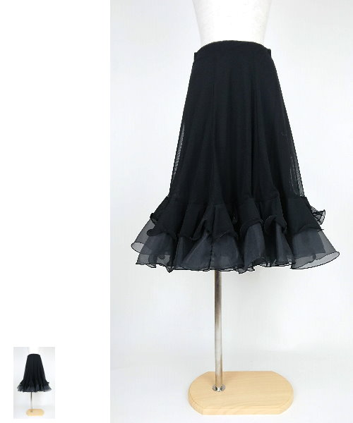 【韓国製】 ソフトメッシュ裾フリルミディアムスカート【社交ダンス 衣装 スカート 】