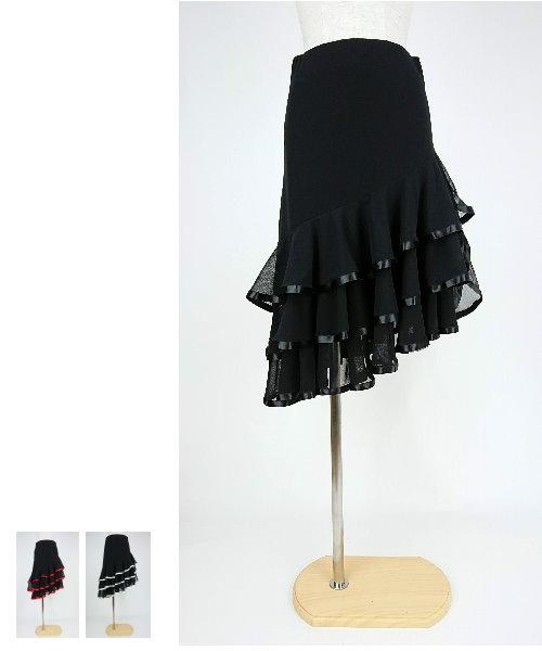 【韓国製】 ソフトメッシュサテンテープミディアムスカート【社交ダンス 衣装 スカート 】
