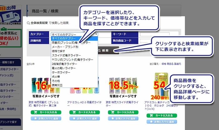 (検索  結果)カテゴリーを選択したり、キーワード、価格帯などを入力して商品を探すことができます。(カテゴリーのあたり)カテゴリーを選択したり、任意の値を入れてください。(検索する)クリックすると検索結果が下に表示  されます。(画像のあたり)画像をクリックすると商品詳細ページに移動します。(価格のあたり)税込、送料別の販売価格です。(カートボタン)。検索結果からすぐにカートに入れることも可能です。