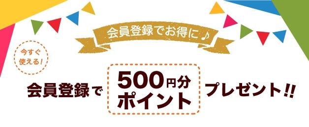 会員登録で500ポイント(500円分相当)をプレゼント