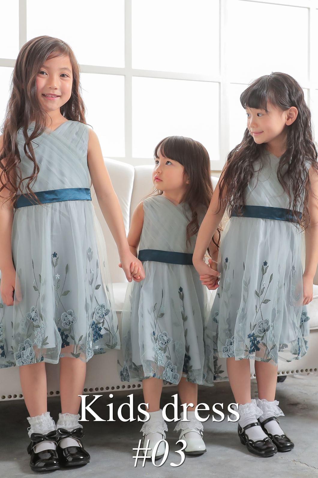 ふわふわのチュールを使用し、小さなお子様にも安心のキッズドレス