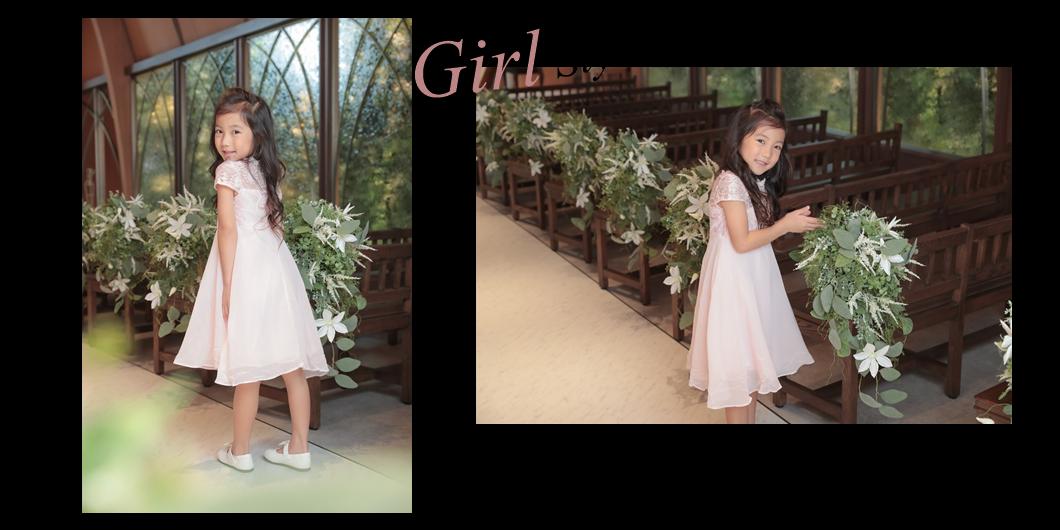 淡いピンクと刺繍使いで可愛らしいキッズドレス
