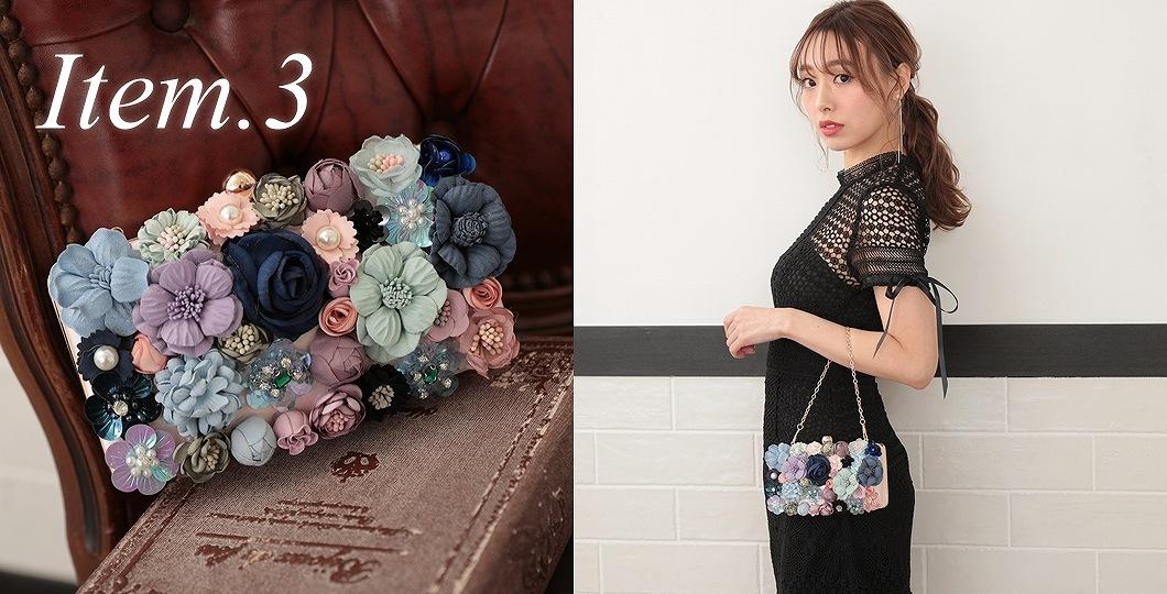 3Dのお花が映えるショルダーと手提げチェーン付きの3WAYバッグ