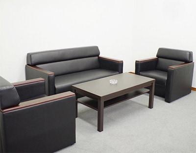 応接セット 応接4点セット 応接ソファセット 応接椅子 おしゃれ ブラック 黒 レザー 役員用 役員家具 オフィス家具 応接室 応接用 モンターニュ KPQ-T3S-BK