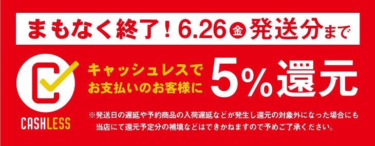 キャッシュレス消費者還元は6月30日までです