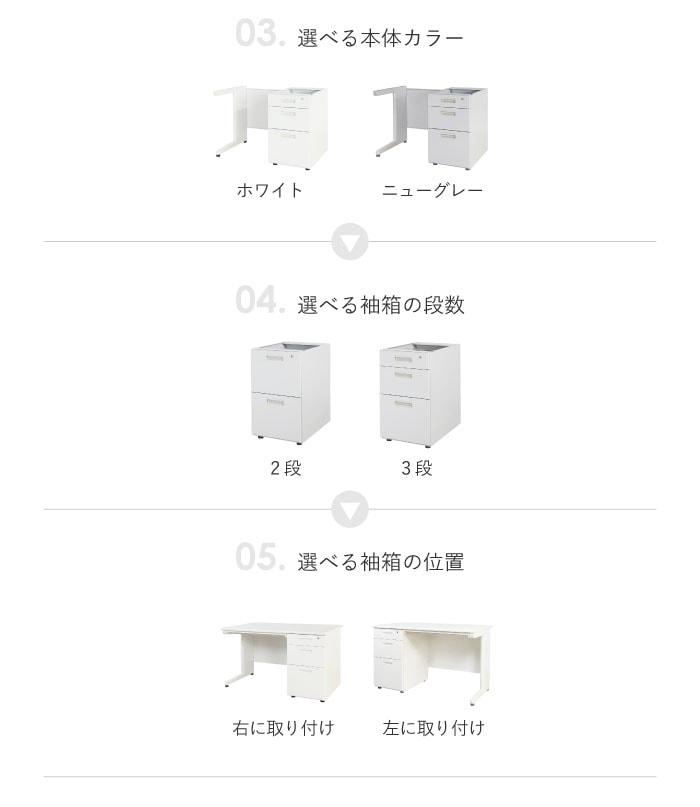 選べる本体カラー 袖箱の段数 袖箱の位置