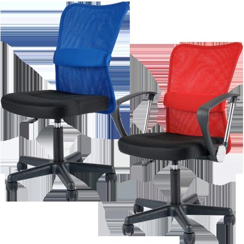 オフィス家具通販のルキット1番人気のオフィスチェア マッチのレッド肘付きとブルー肘なしのイメージ
