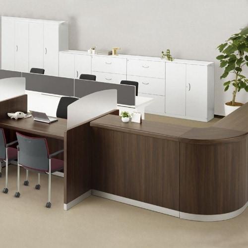 木目タイプで高級感のあるオフィスや施設などに最適おしゃれなローカウンター
