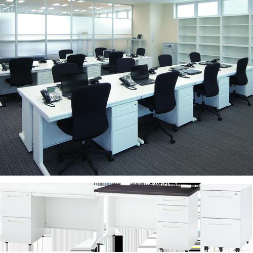 オフィスのレイアウトに合わせて変更できるスチールデスクシリーズ