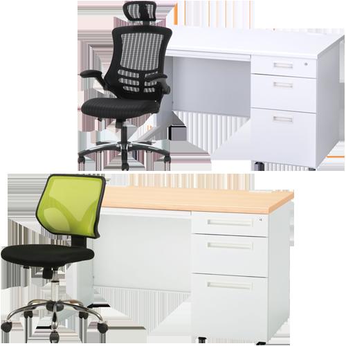オフィス家具通販のルキットが厳選した激安でおしゃれな事務机と事務椅子のセット