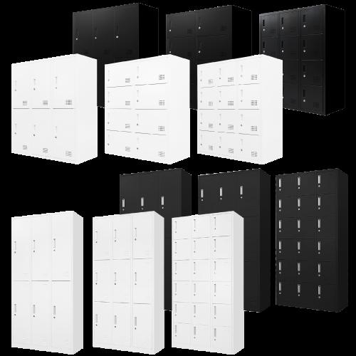 オフィス家具通販のルキットオリジナルの組立ロッカーを1人用から18人用まで並べたイメージ