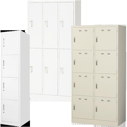 オフィス家具通販のルキットが厳選した中古より激安のロッカーを4人用、6人用、8人用を並べたイメージ