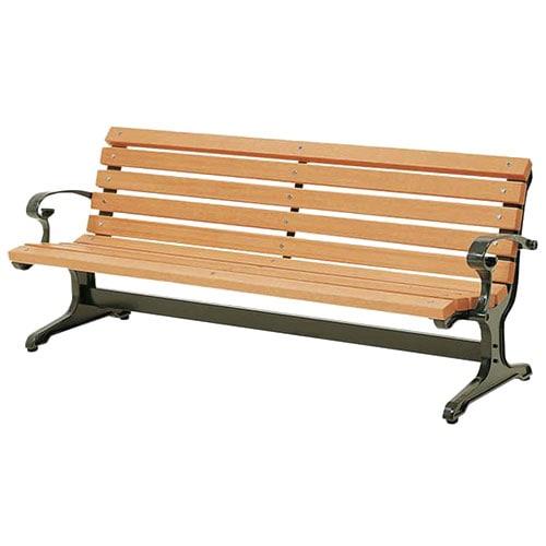 屋外のリフレッシュスペースや休憩所に最適な背もたれがあるおしゃれな木製のウッドベンチ