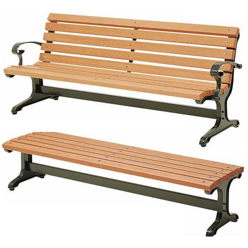屋外の公共施設、公園や会社の屋外リフレッシュスペース、休憩所などに最適でおしゃれな背付きと背なしのウッドベンチ