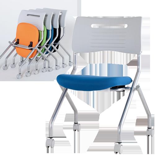 折り畳んでコンパクトに収納できる会議室やセミナールーム、多目的用途に最適なスタッキングミーティングチェア
