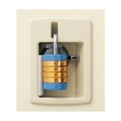 南京錠を設置できるようスペースがある南京錠タイプのシューズボックスの錠前