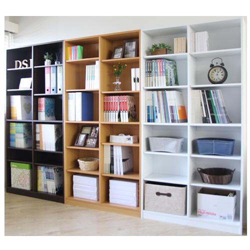 オフィス家具通販のルキットオリジナル木製の大容量オープン書庫を3色並べてオフィスにレイアウトしたイメージ