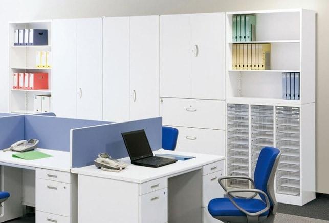 セイコーのおすすめホワイトキャビネットシリーズをオフィスにレイアウトしたイメージ