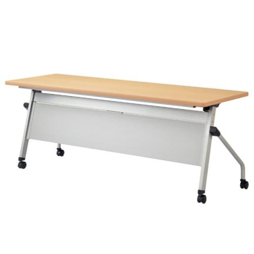 幕板付きのタイプで会議中やイベント時にも女性に配慮したナチュラル天板がおしゃれなフォールディングテーブル