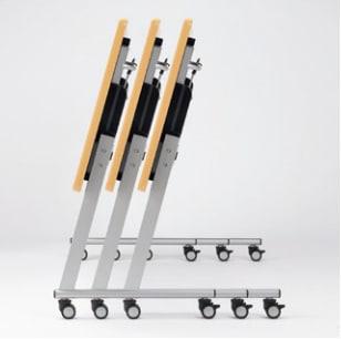 フォールディングテーブルを折り畳んで平行にスタッキングしたイメージ