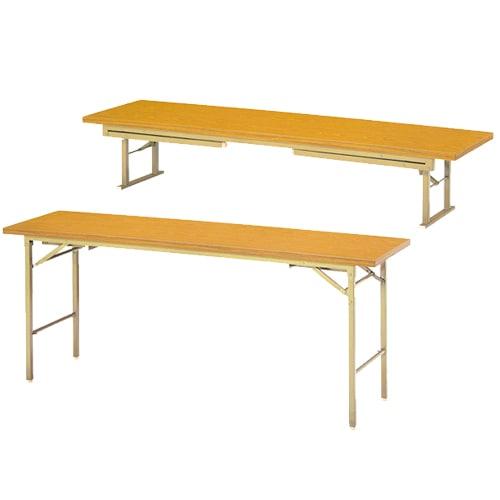 オフィスや公共施設などで脚の長さを変えて座卓としての使用と通常の折りたたみテーブルとしての使用イメージ