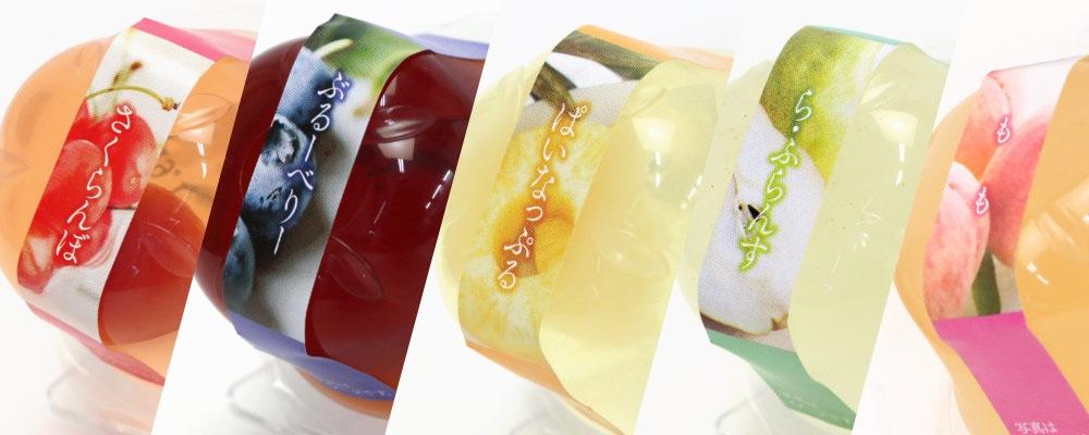 パイナップル、ブルーベリー、桃、サクランボ、ラ・フランスの5種類の写真
