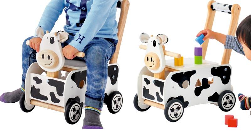 アイムトイ ウォーカー&ライド カウ デラックス IM-29660 /木のおもちゃ/木製玩具/ウッドトイ/木製トイ/知育おもちゃ/出産祝い/教育玩具/