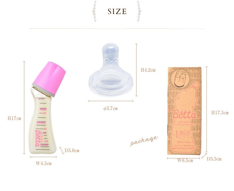 ドクターベッタ 日本製 哺乳瓶(PPSU製)Lace レース ブレイン120ml